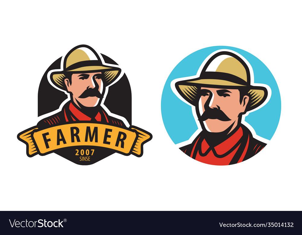 Farmer emblem farm agriculture symbol