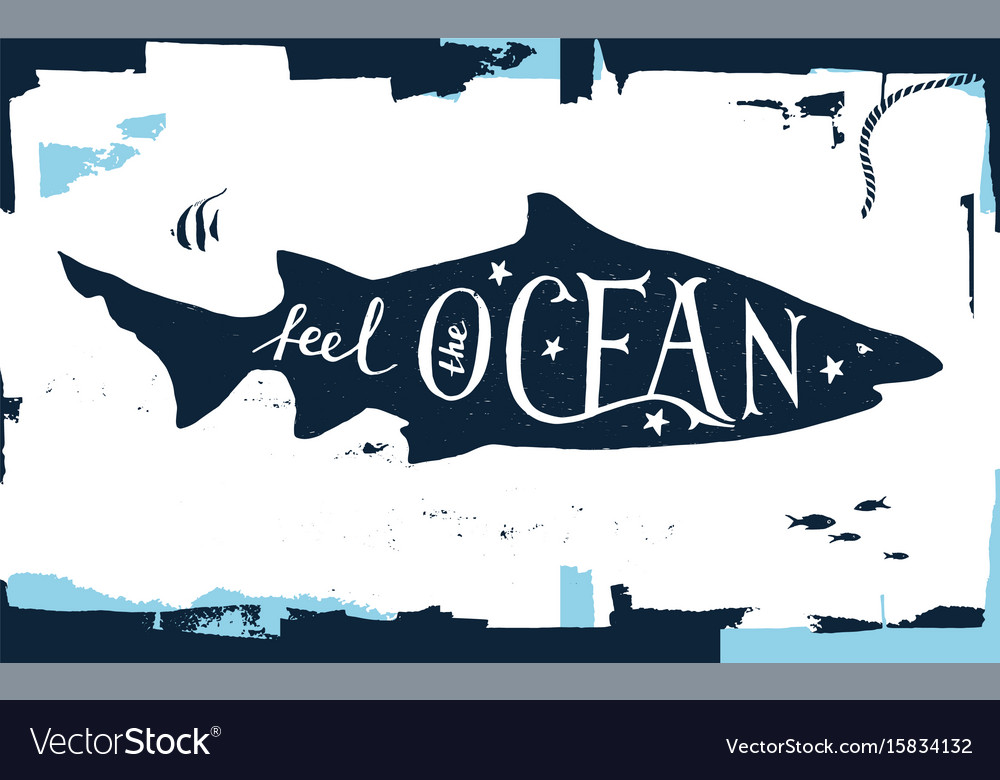 Hand drawn lettering - feel the ocean