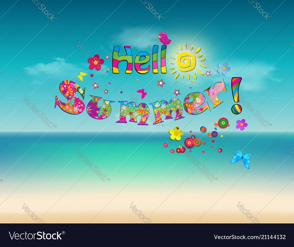 Hello summer cartoon lettering on sea beach