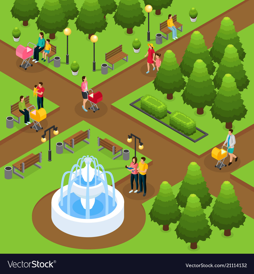 Isometric people in public park template