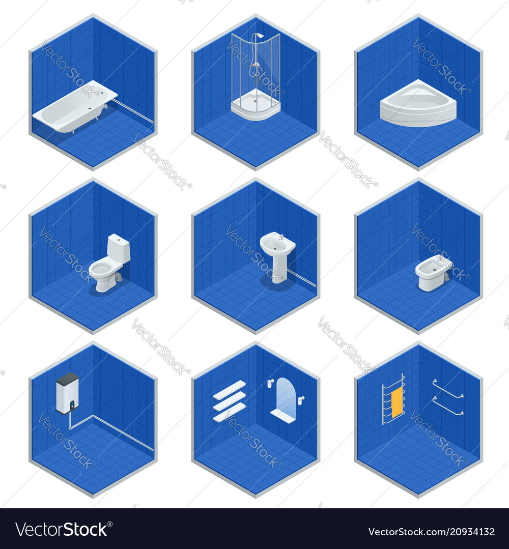 Isometric set of bathroom furniture
