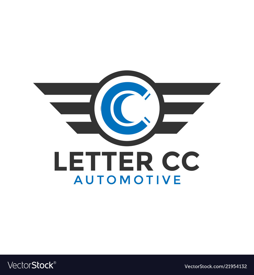 Letter cc automotive wing logo icon design