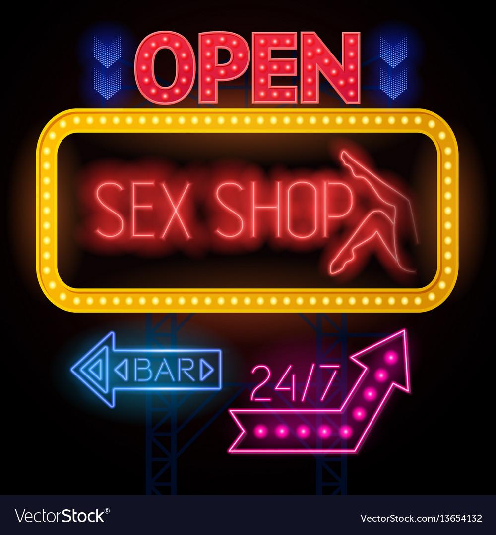 Luminous sexshop signs set