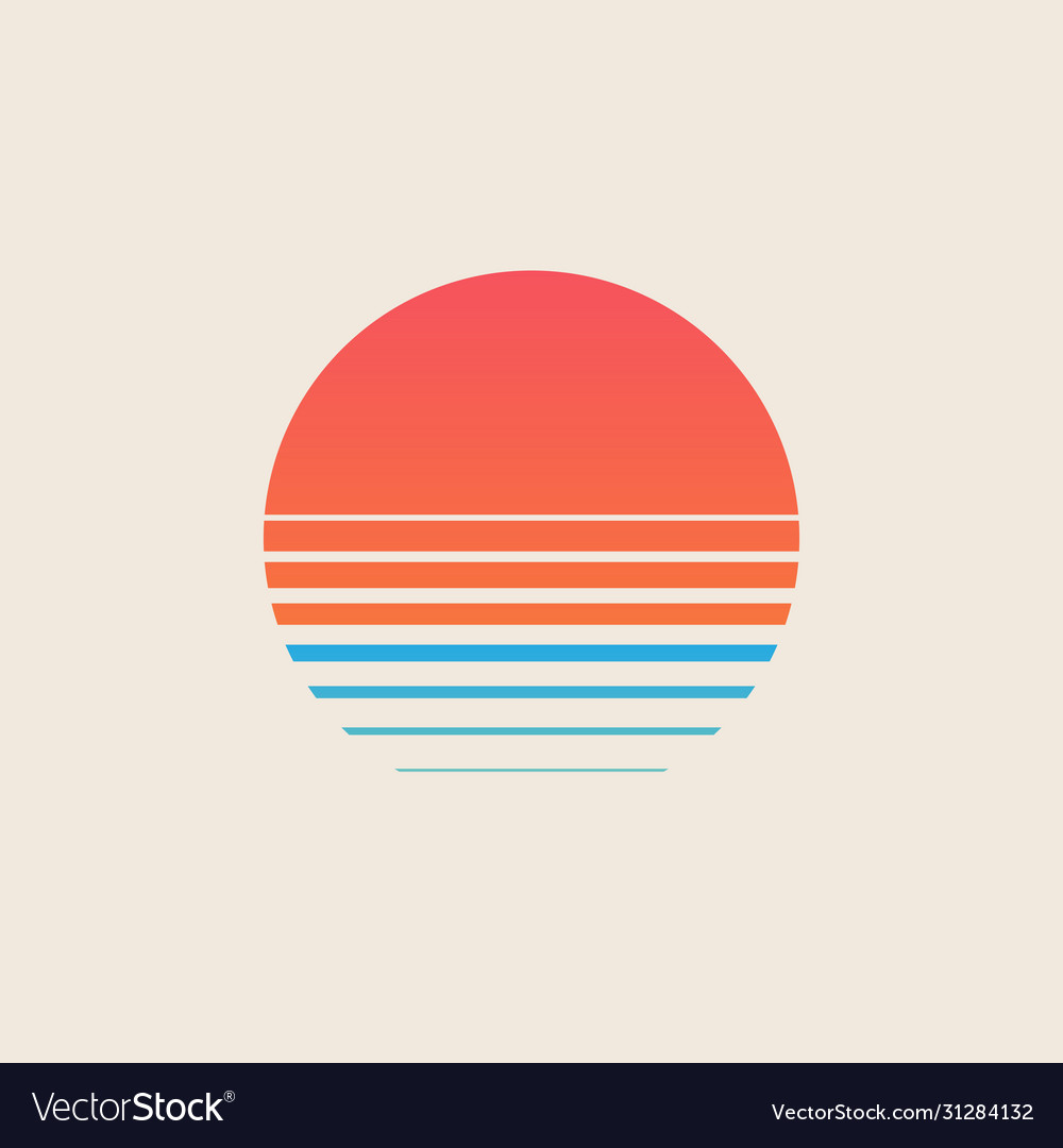 Retro sunset above sea or ocean with sun and