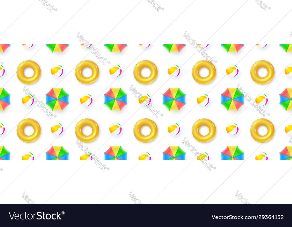 Seamless pattern with sun umbrellas beach balls