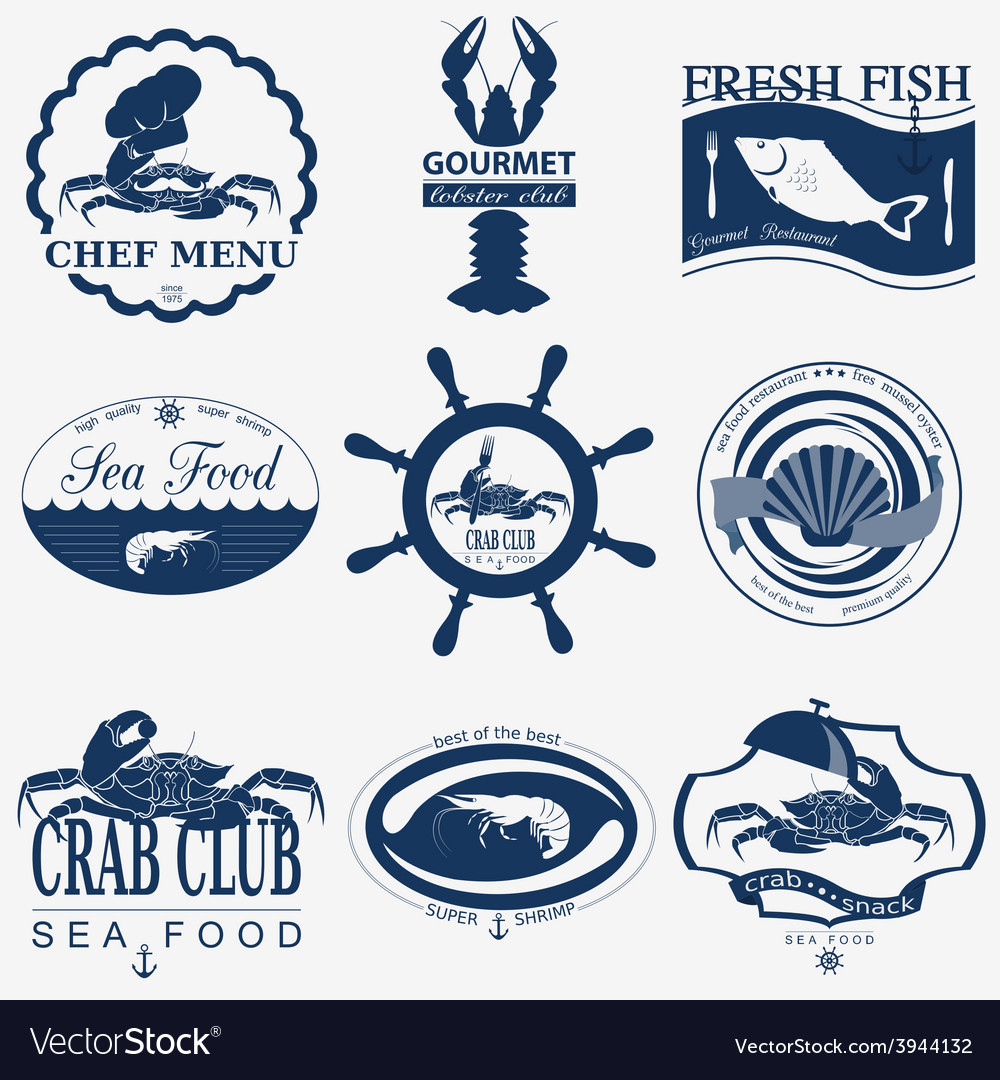 Set of vintage sea food logos logo templates and
