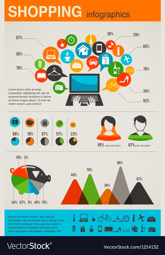 Shopping infographics set retro style design