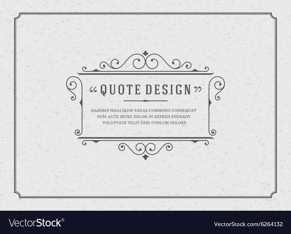 Vintage Ornament Quote Marks Box Frame Royalty Free Vector