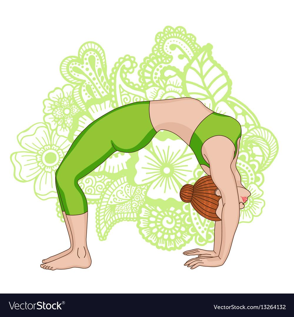 Women silhouette upward bow wheel yoga pose vector image