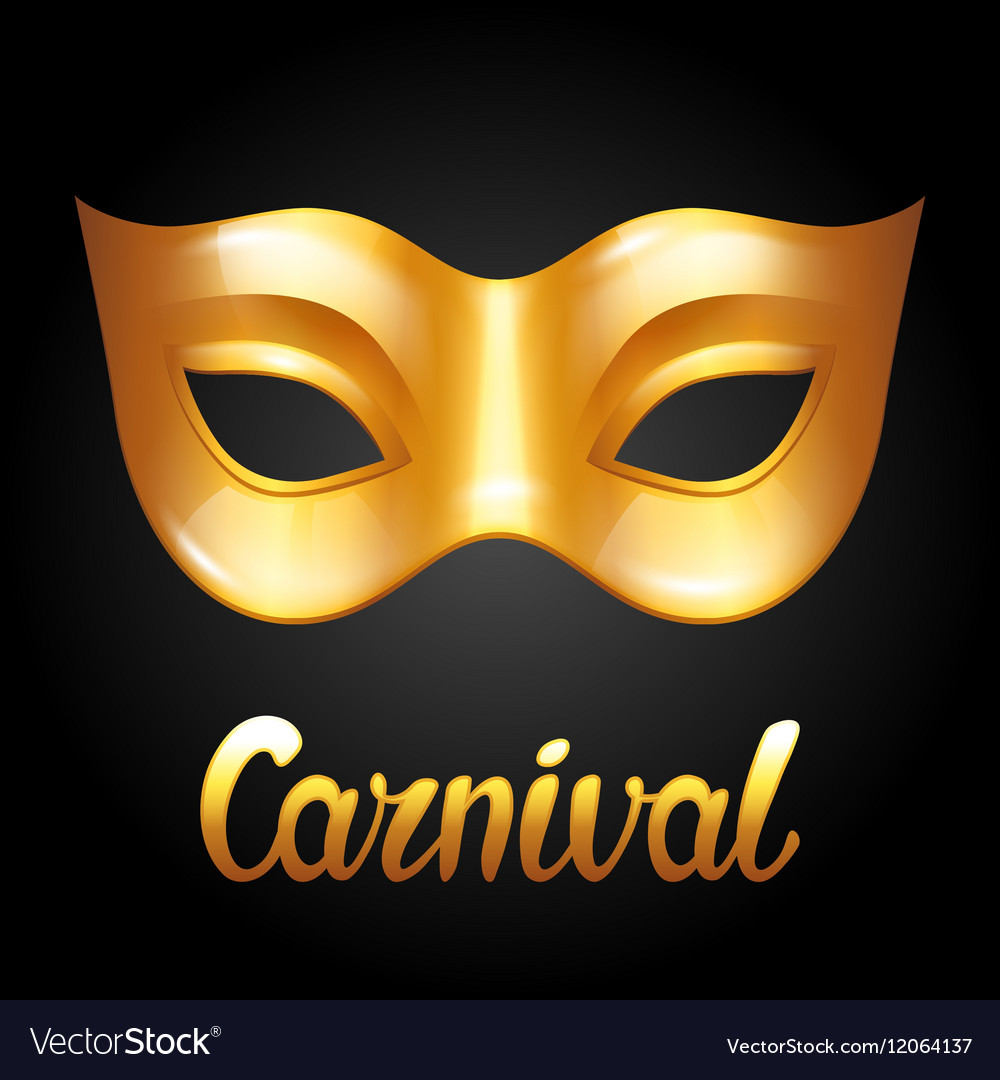 Carnival invitation card with golden mask