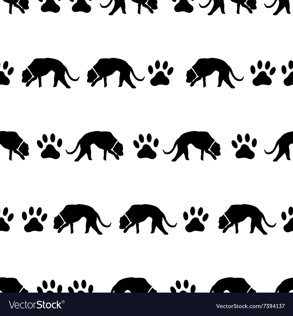 Dog and footprints black shadows silhouette in vector image