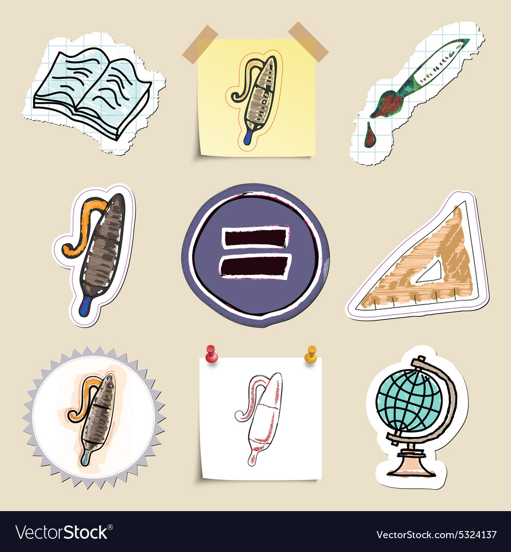 Hand drawn education emblems set Isolated