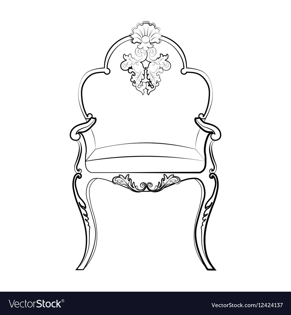 Imperial Royal chair with classic ornaments vector image