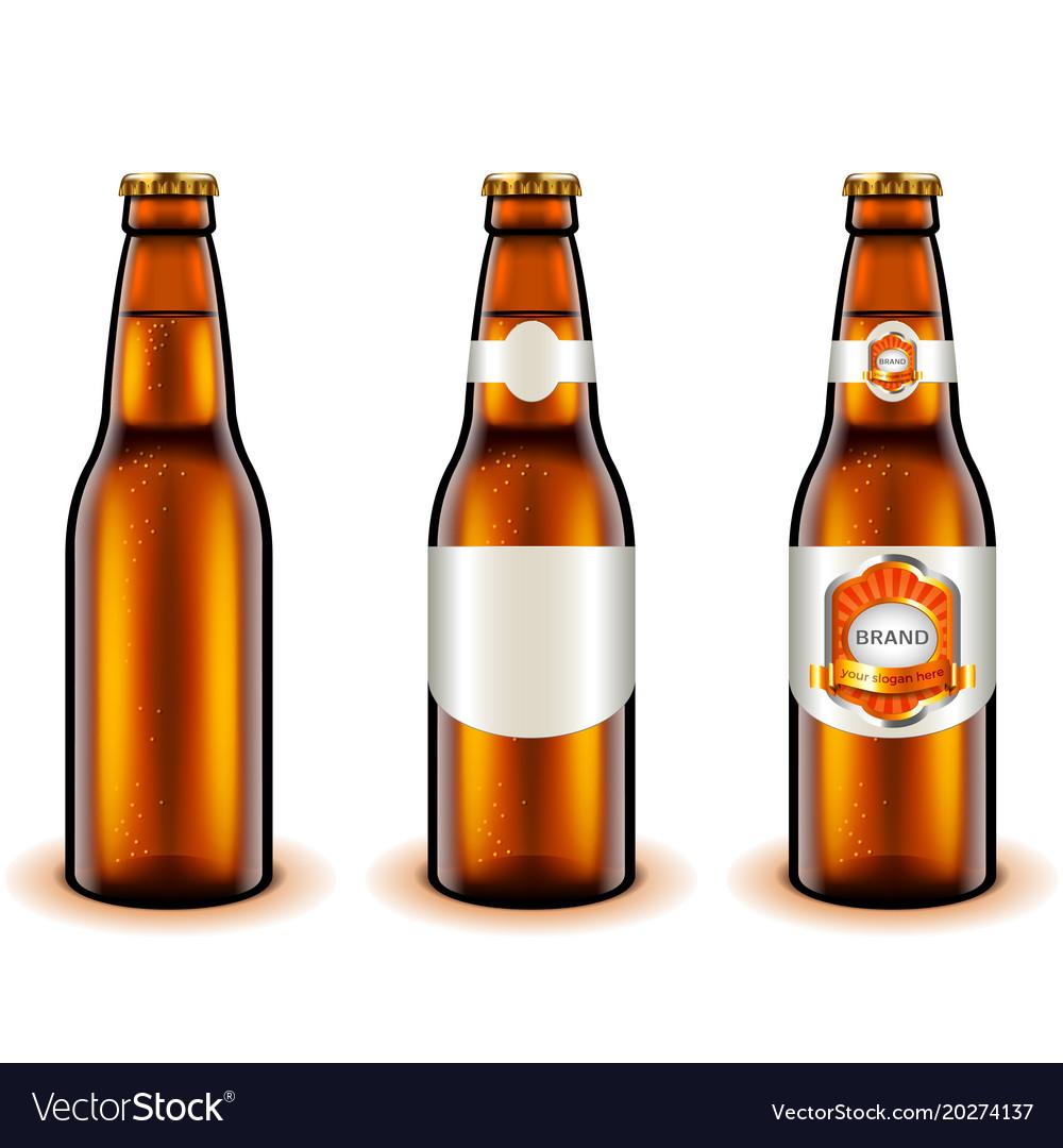 Light beer bottle design 3d realistic