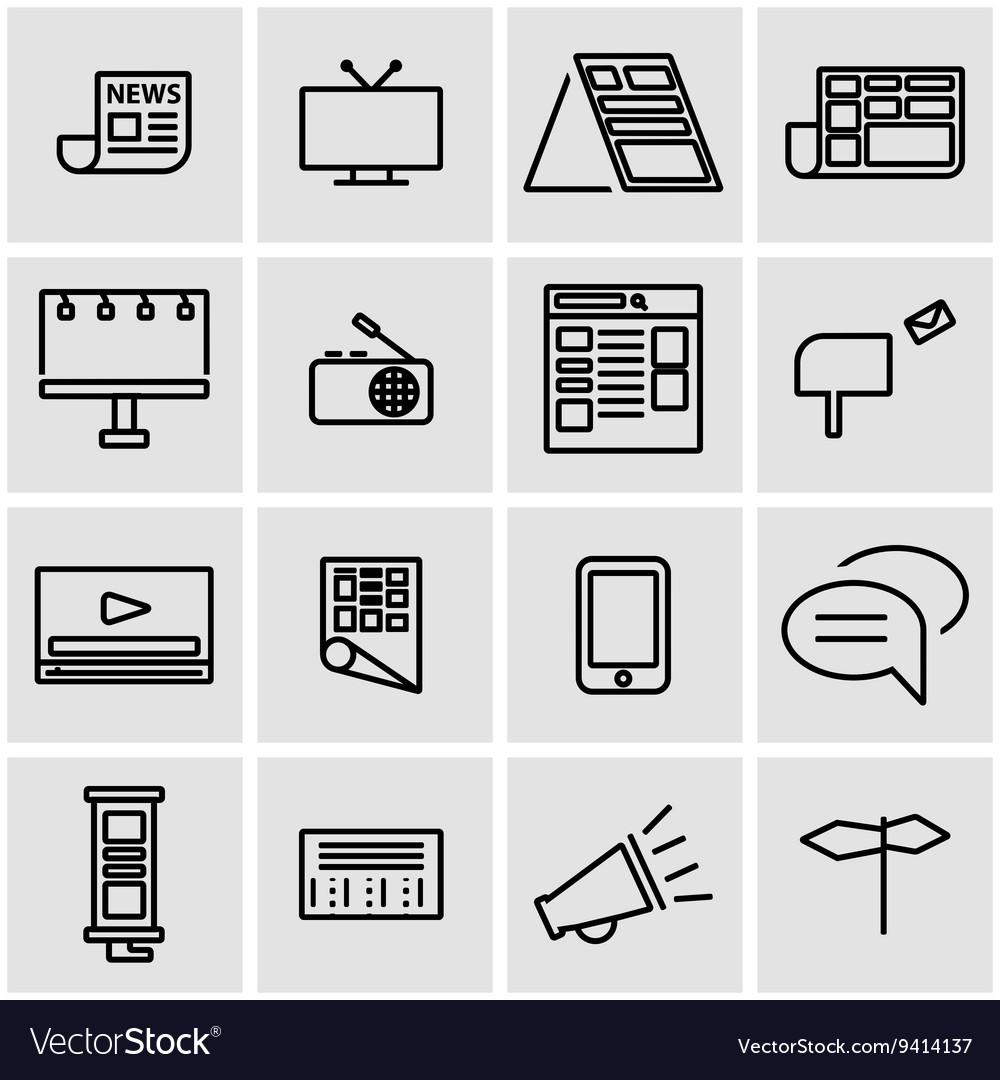 Line advertisement icon set