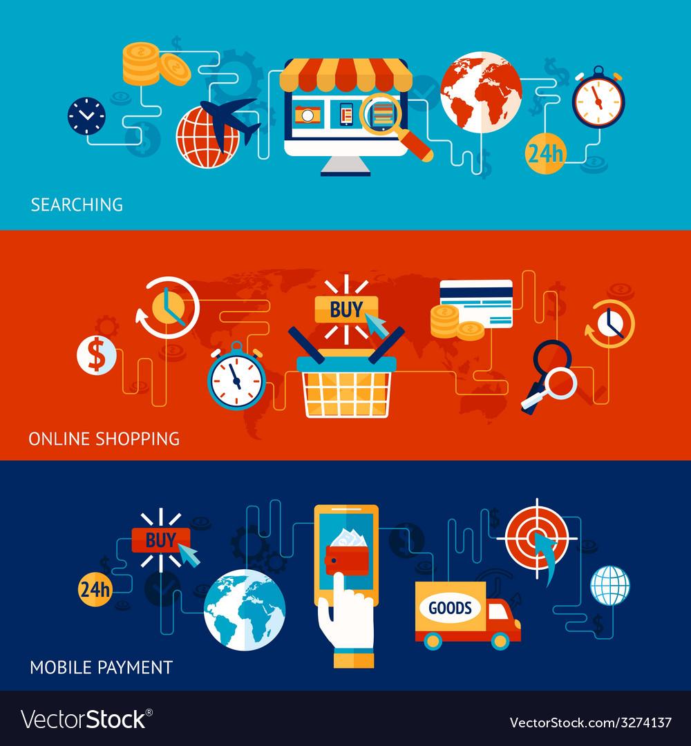 Online shopping banner set vector image