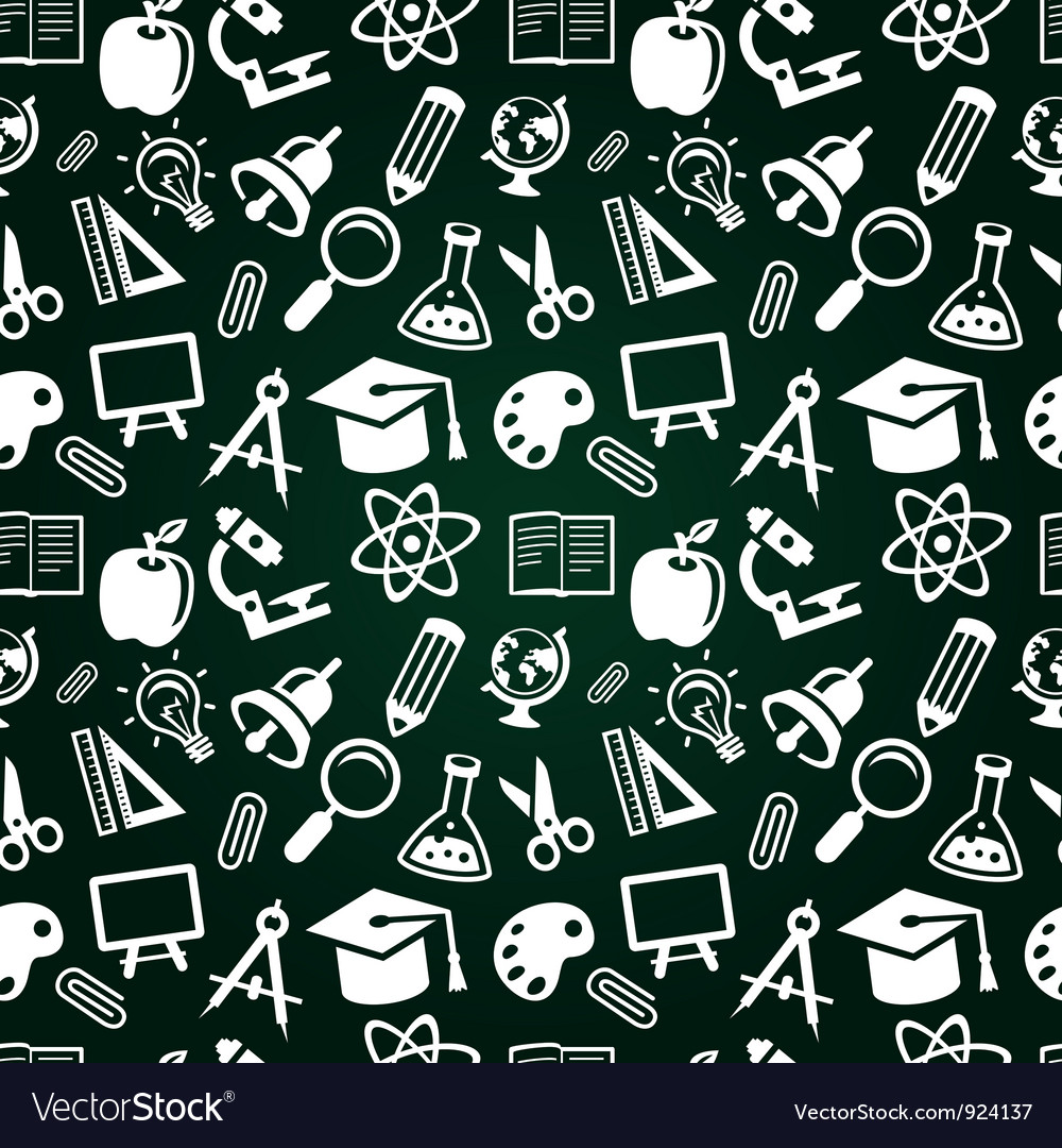 Seamless pattern with education icons