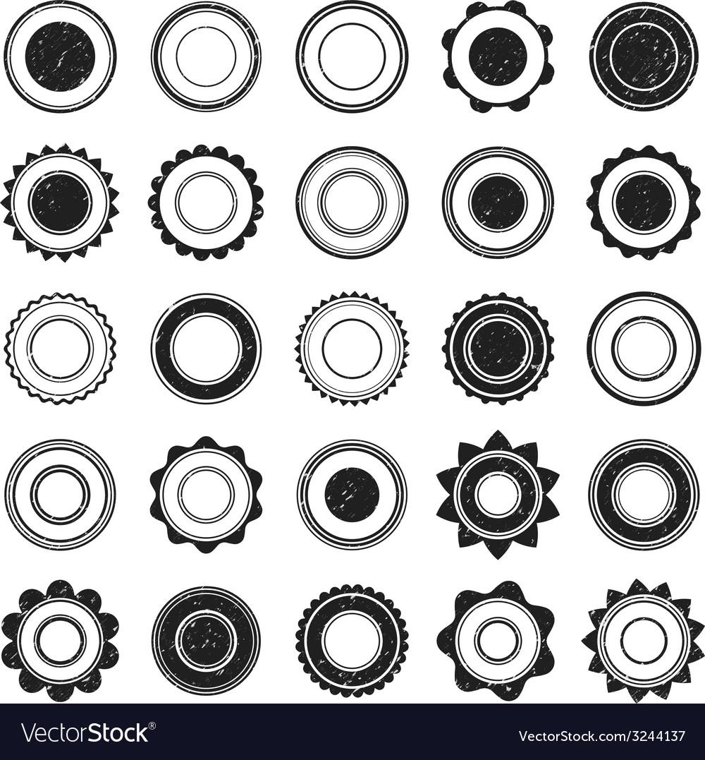 Set of black grunge stamp Round shapes