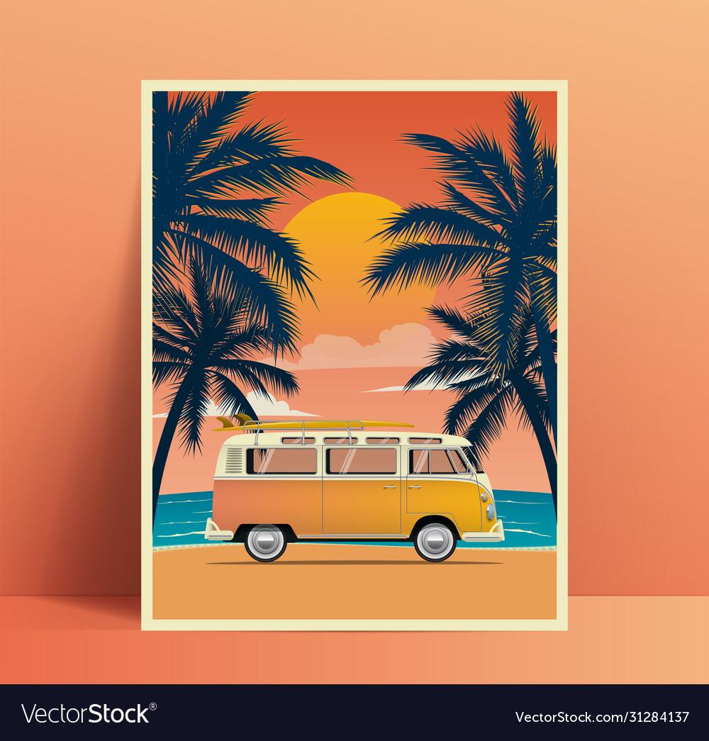 Summer travel poster design with vintage surfing