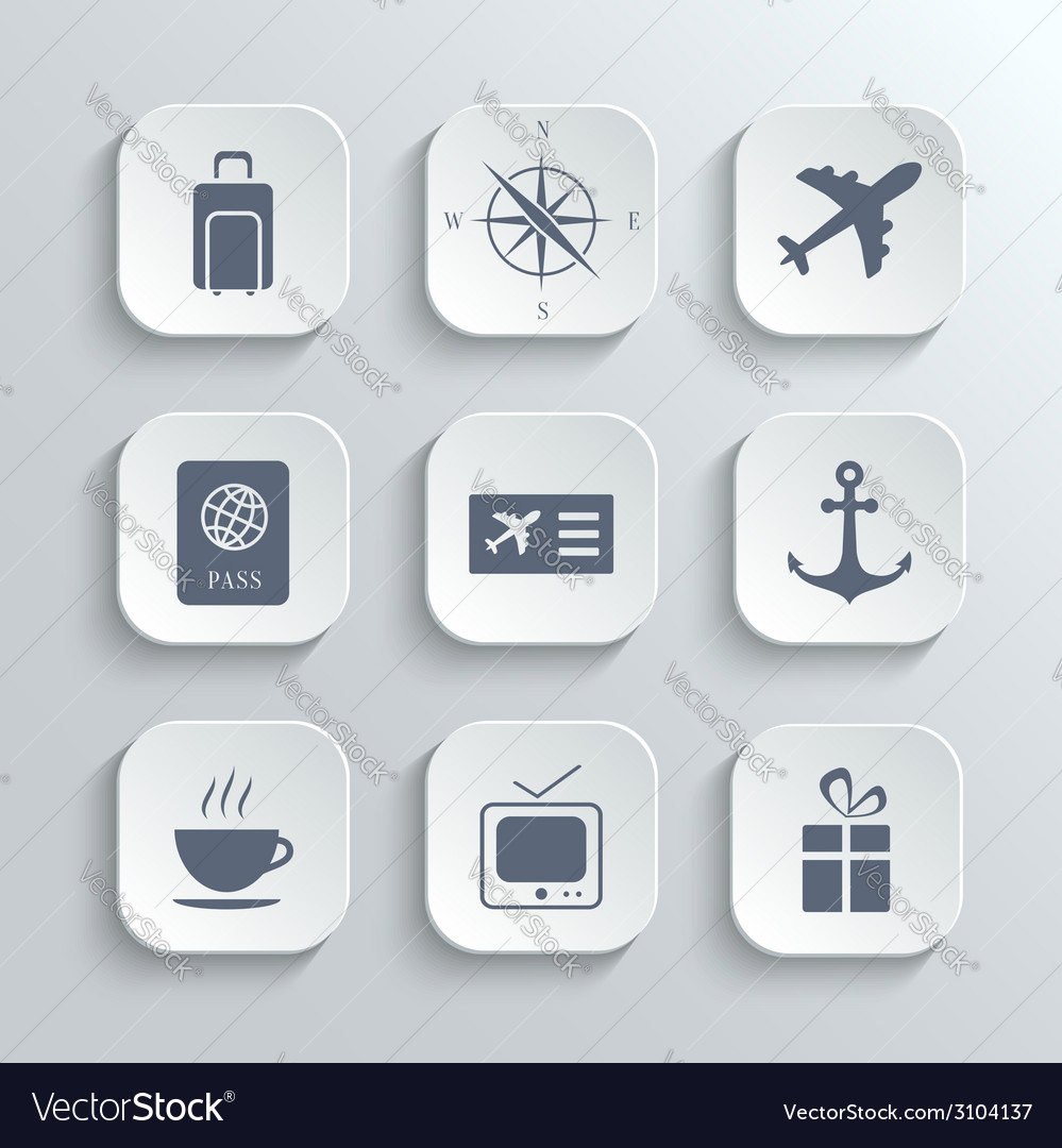 Travel icons set - white app buttons