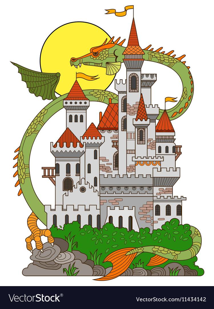 Castle and dragon cartoon
