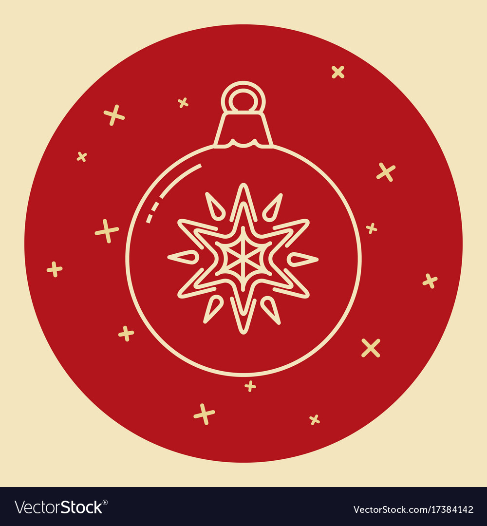 Christmas bauble icon in thin line style