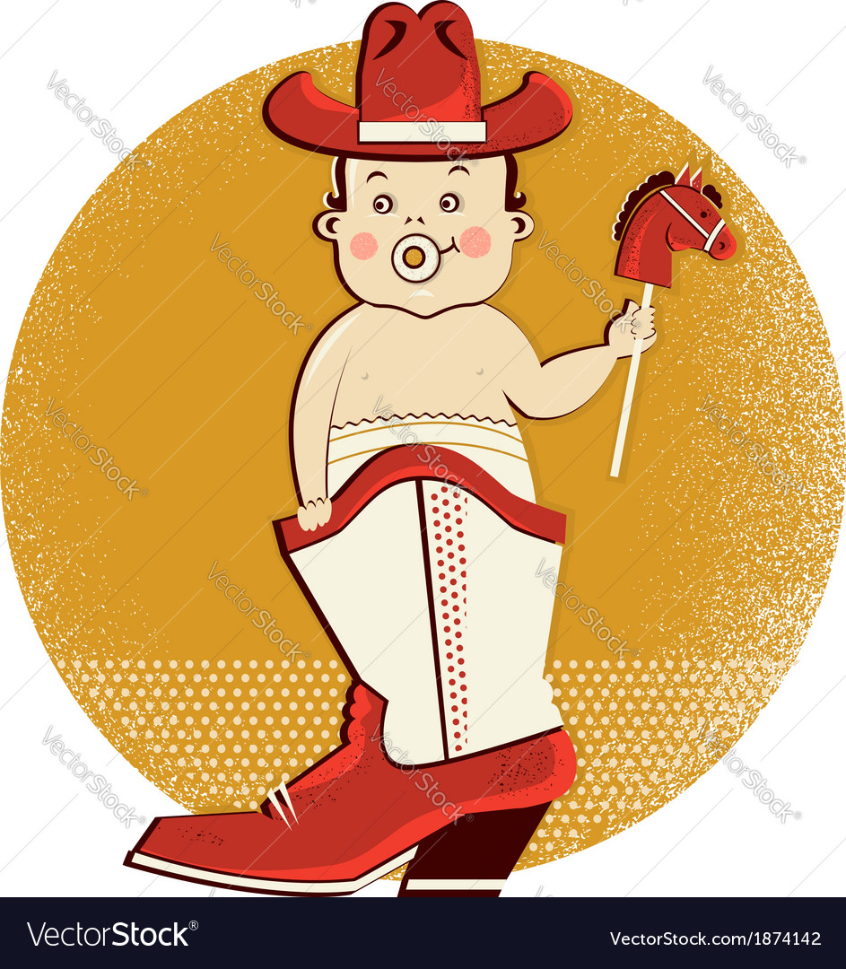 Cowboy baby in western boot vector image
