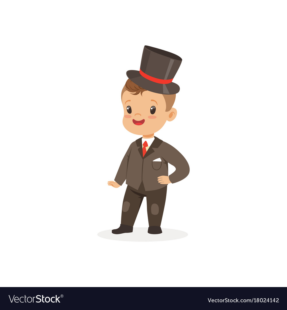 ecca3ed9cf9319 Cute little boy wearing suit and black top hat Vector Image