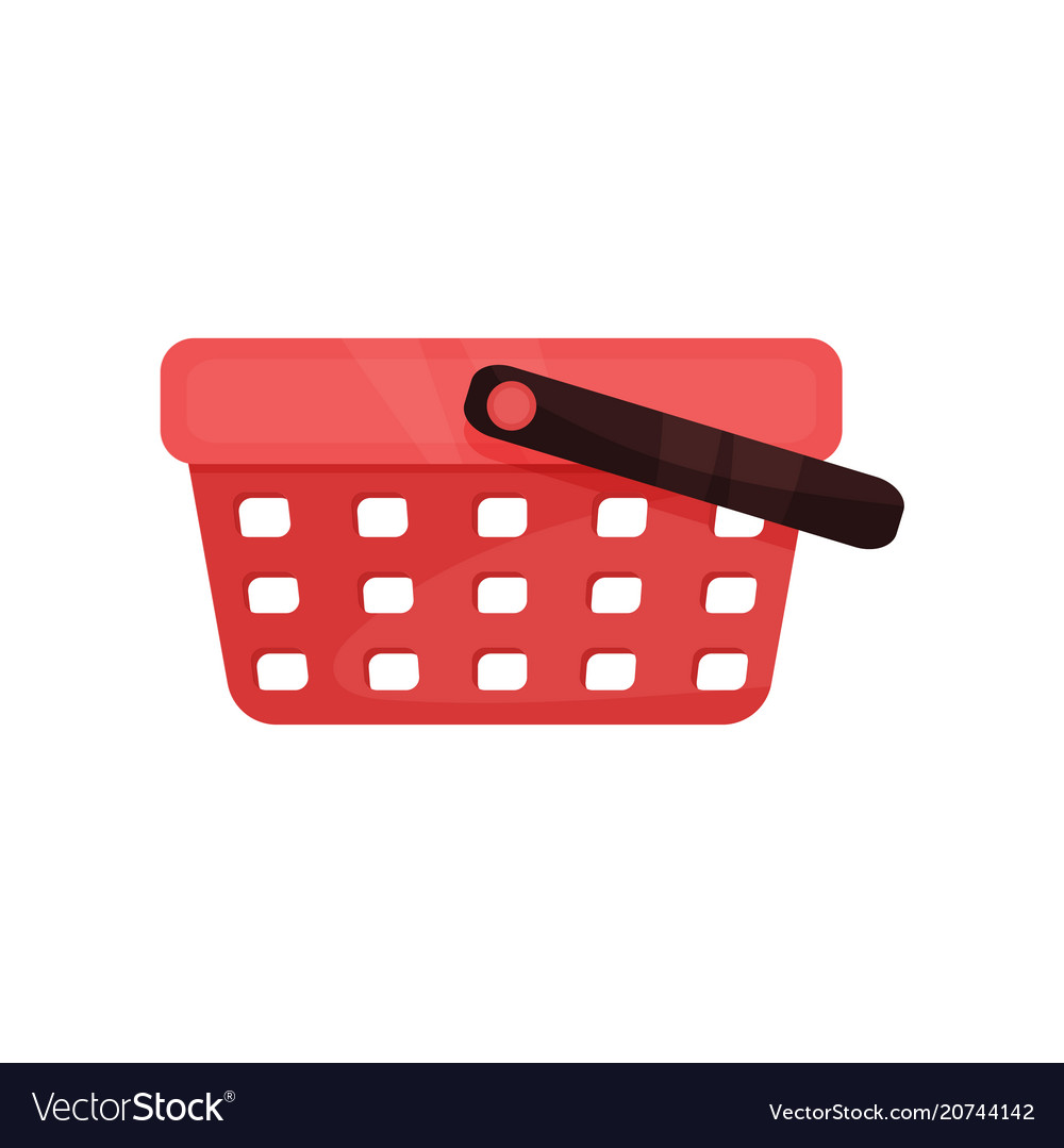 Flat icon of bright red shopping basket