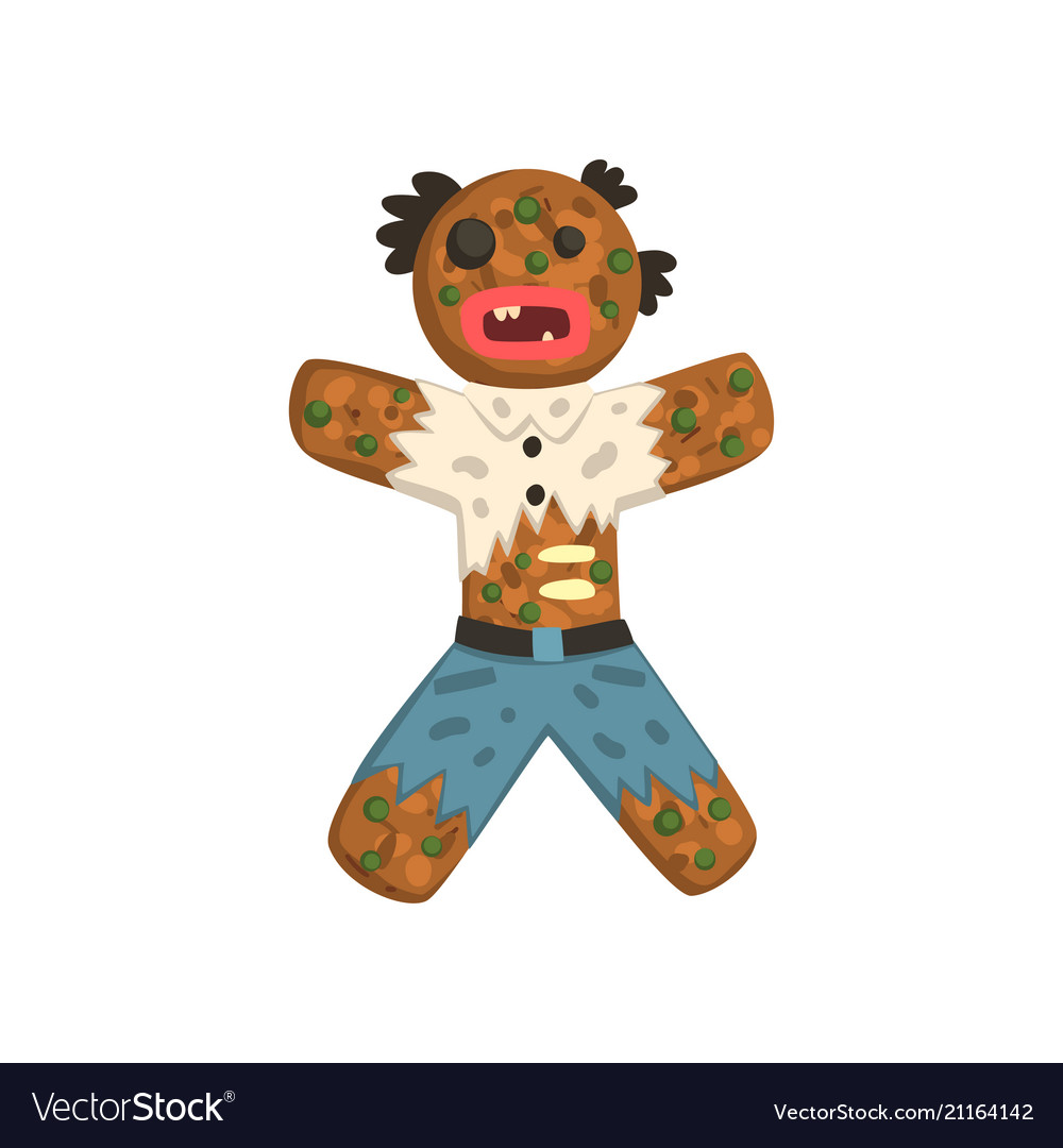 Gingerbread man in costume of zombie christmas Vector Image