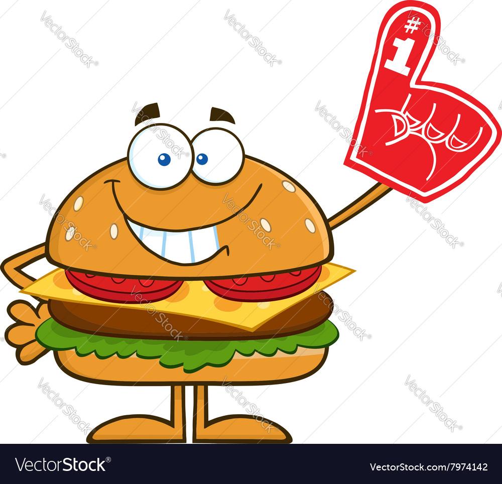 Hamburger Cartoon with a Foam Finger vector image