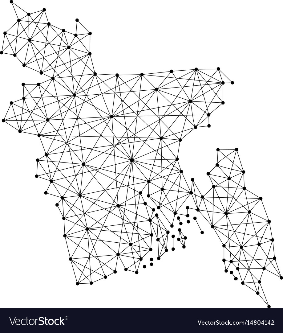 Map of bangladesh from polygonal black lines