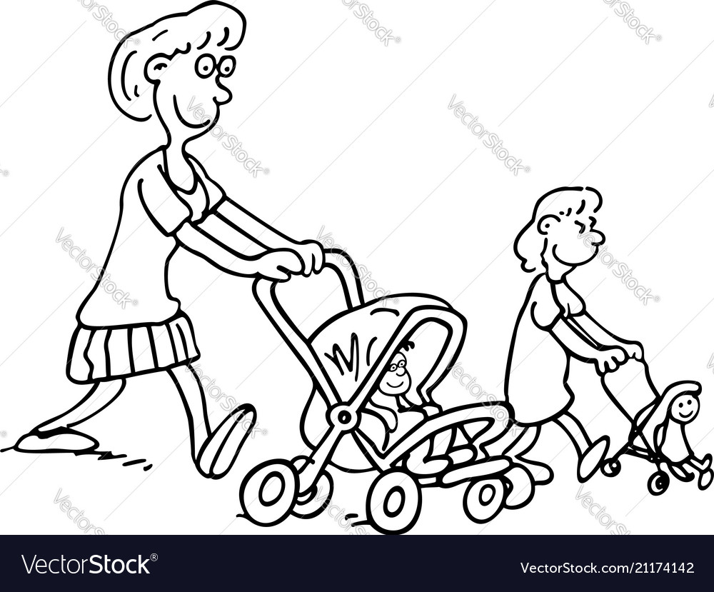 Mothers parenting mothers push baoutlined
