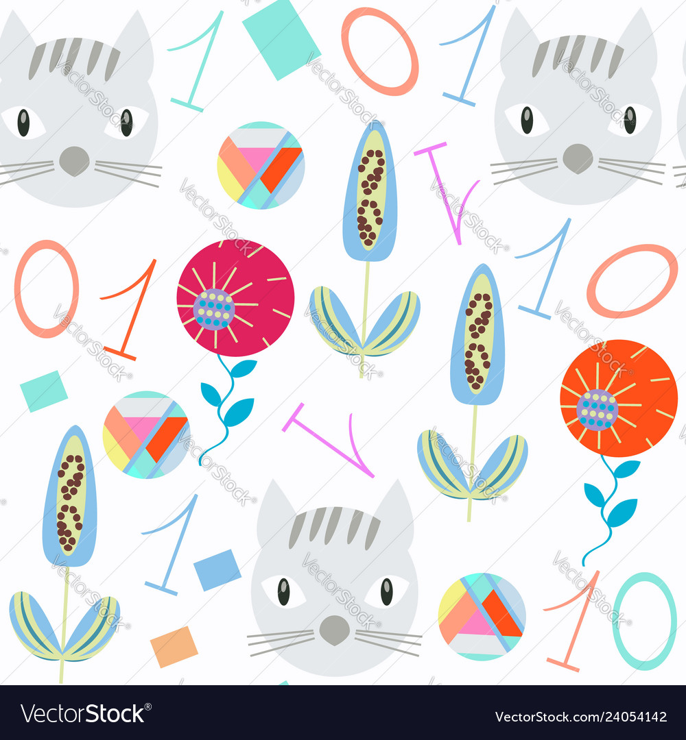 Numeral kids seamless pattern it is located in