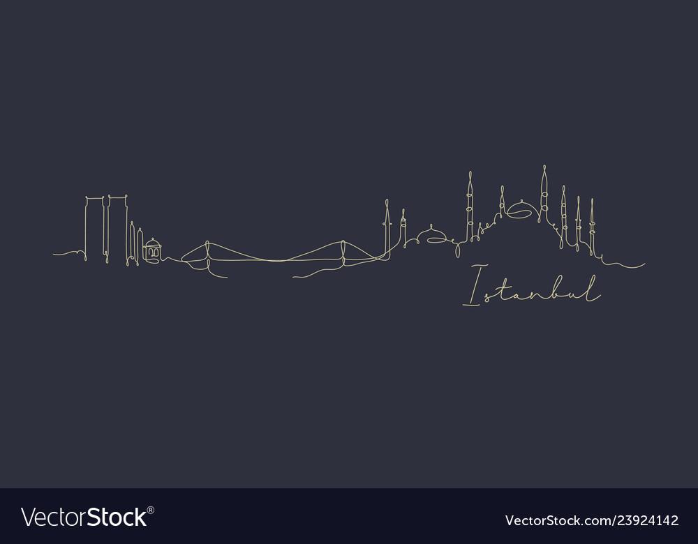 Pen line silhouette istanbul dark blue