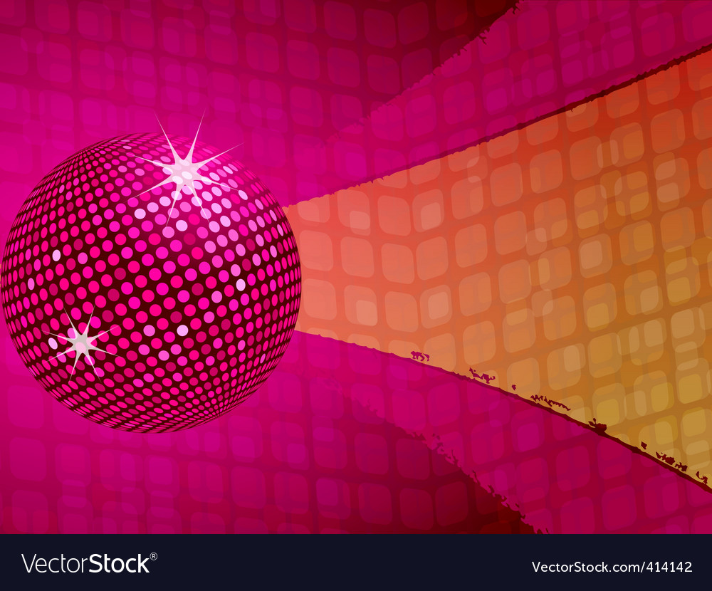 Pink disco ball funky background Royalty Free Vector Image