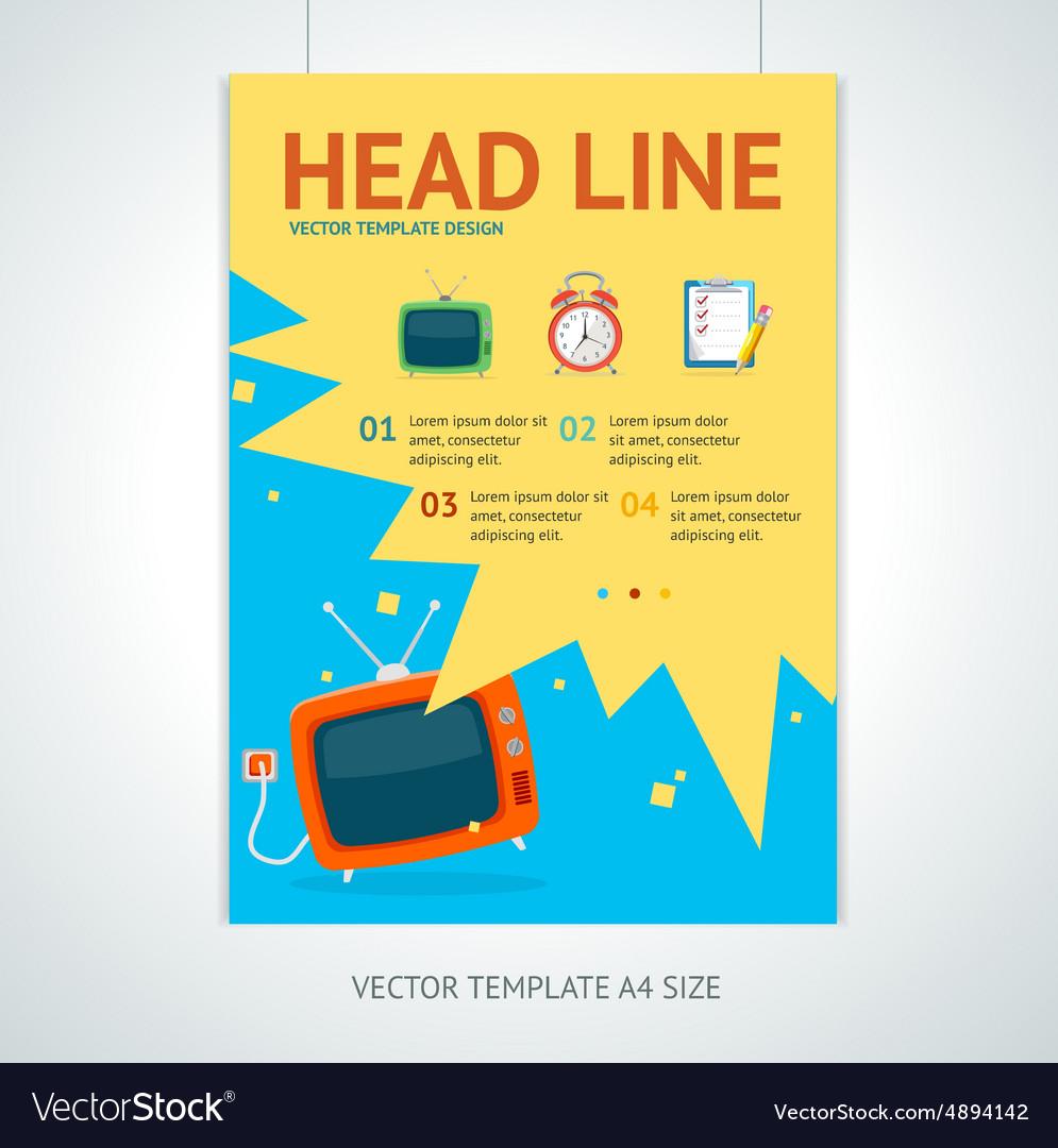 retro television brochure flyer design royalty free vector
