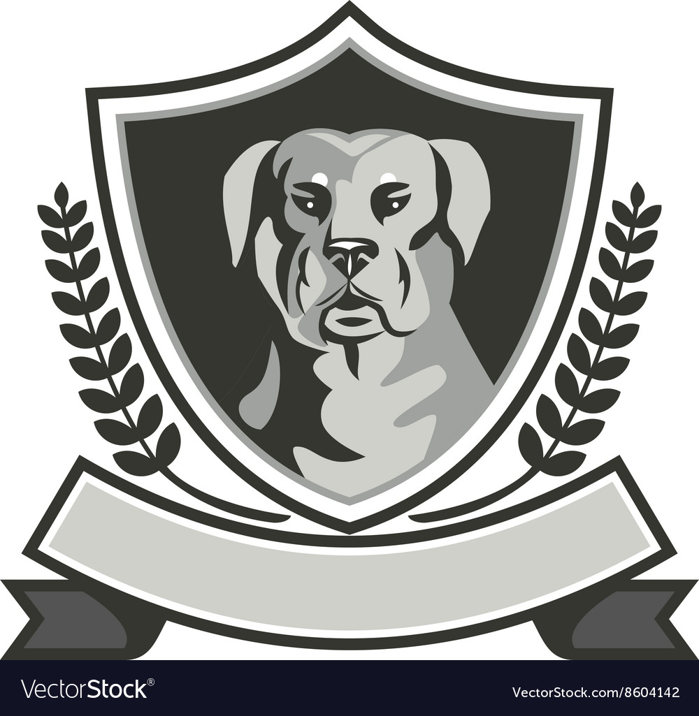 Rottweiler head laurel leaves crest black and