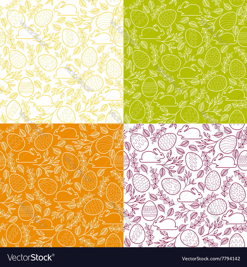 Seamless patterns with easter eggs bunnies
