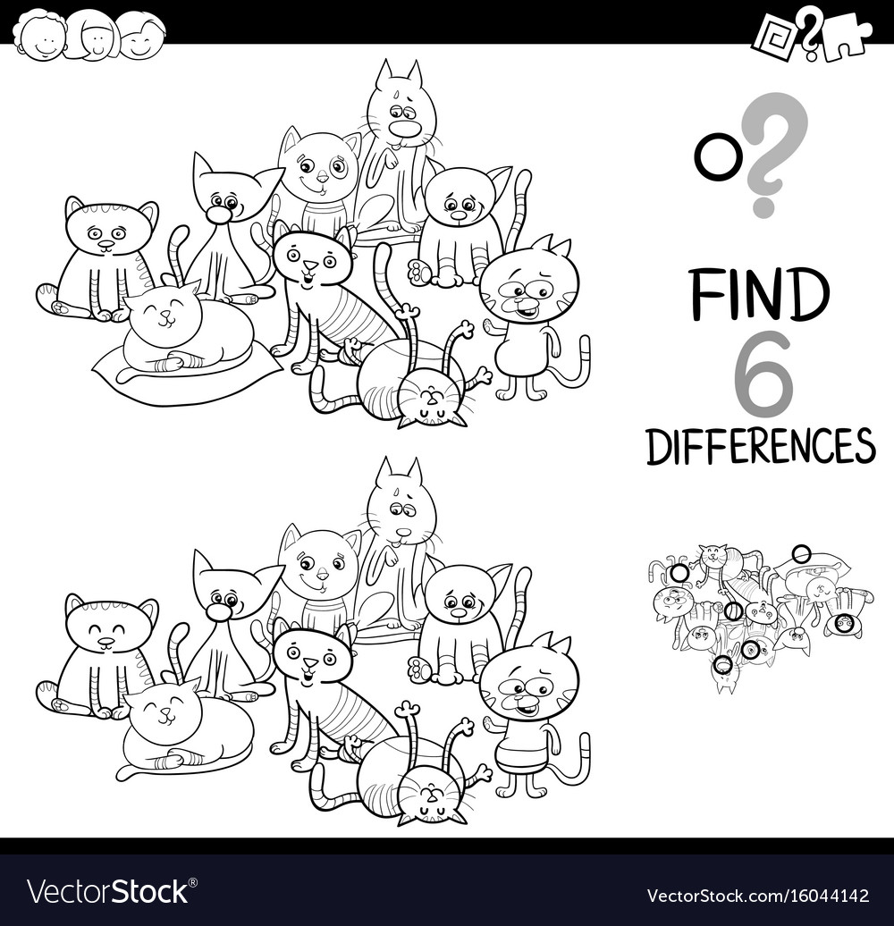 Spot the difference with cats coloring book Vector Image