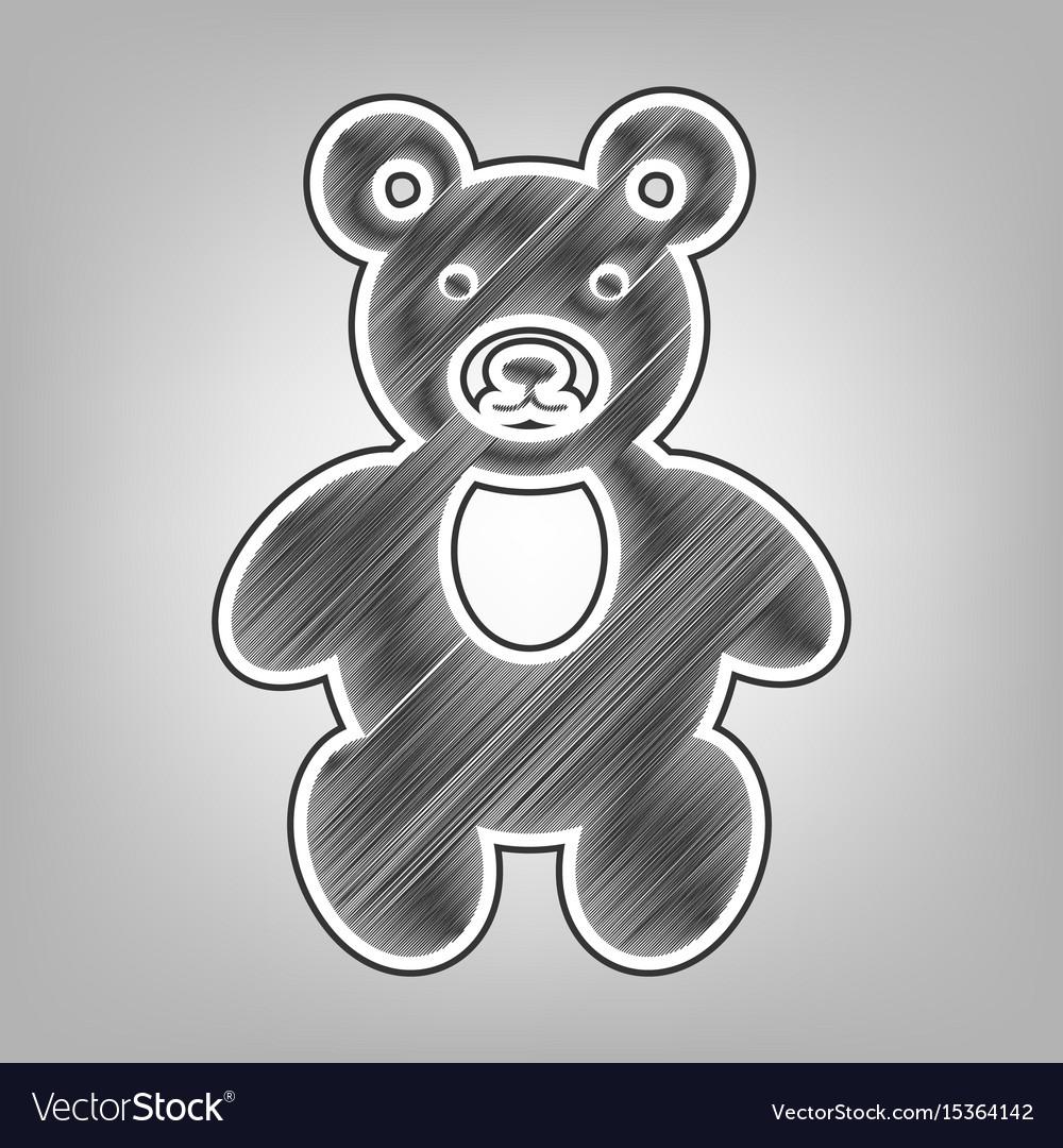 Teddy bear sign pencil