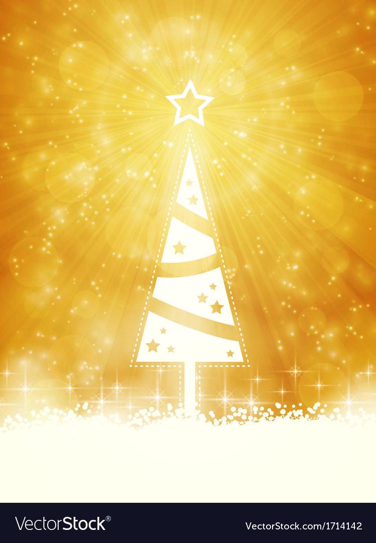White shiny Christmas tree on sparkling golden bac vector image
