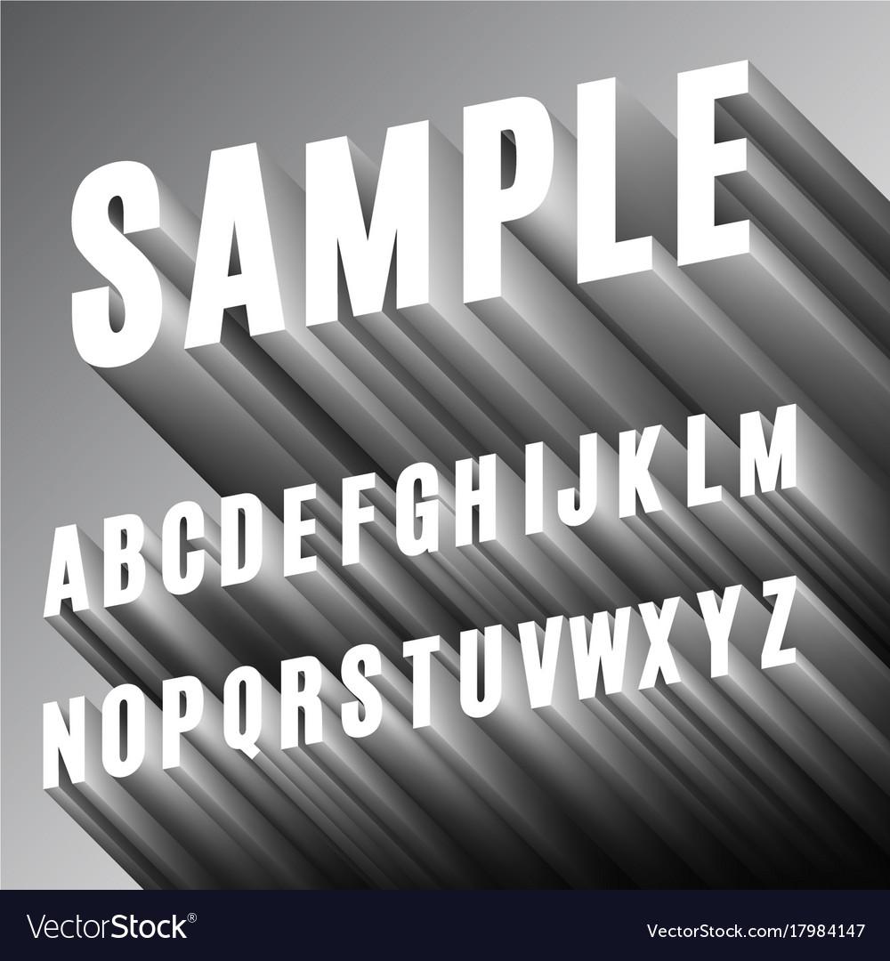 3d Font Alphabet Royalty Free Vector Image Vectorstock