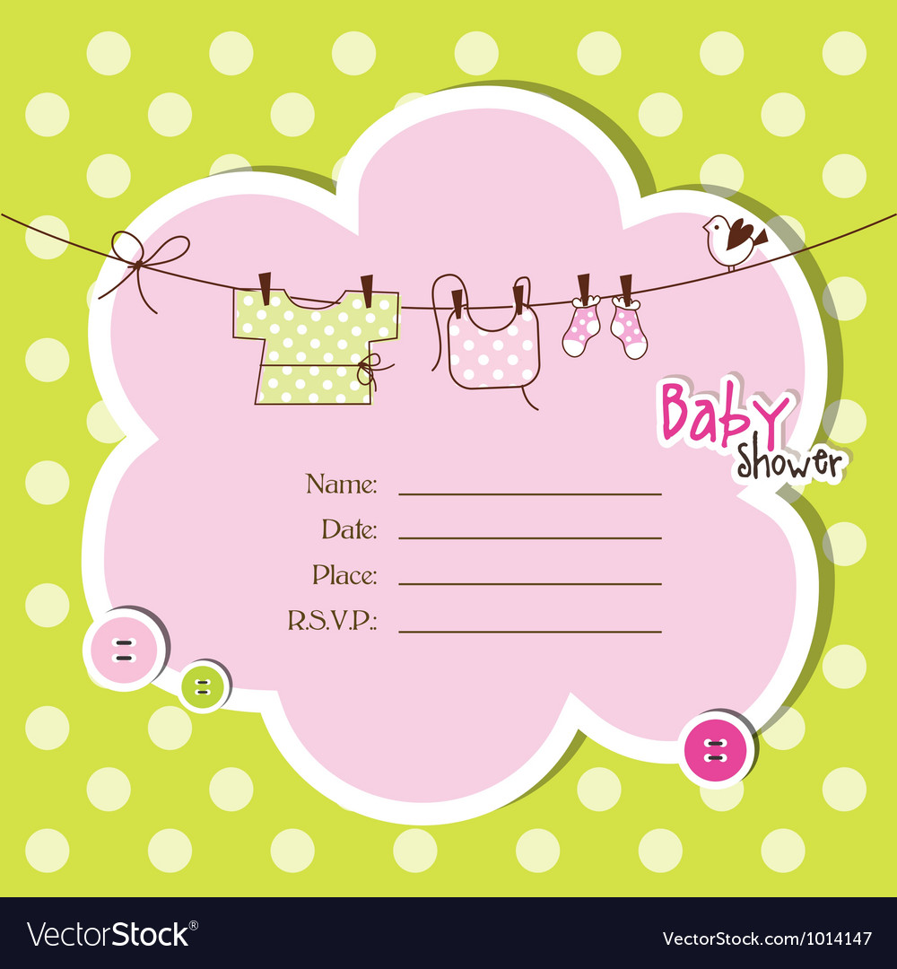 Baby shower card Royalty Free Vector Image VectorStock