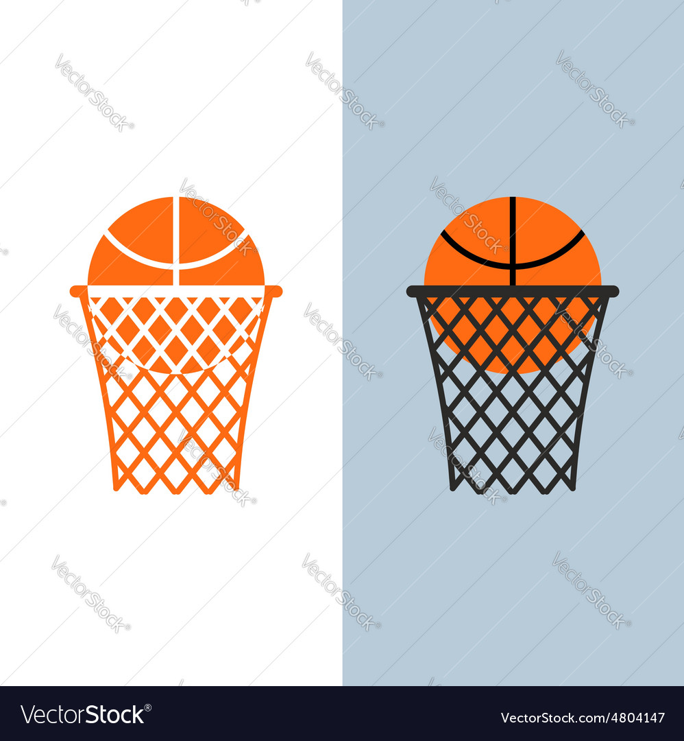 Basketball logo Ball and net for basketball games