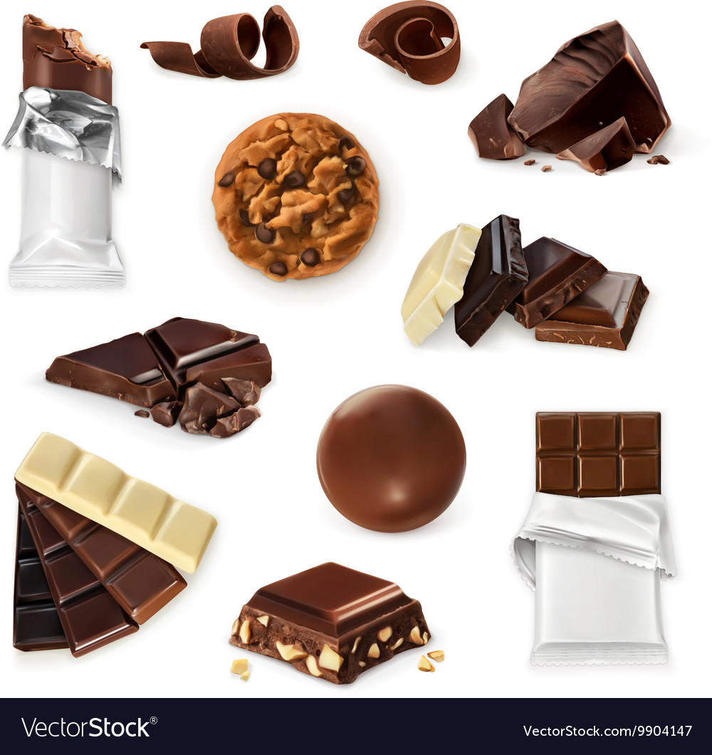 Chocolate icon set Different kinds of cacao