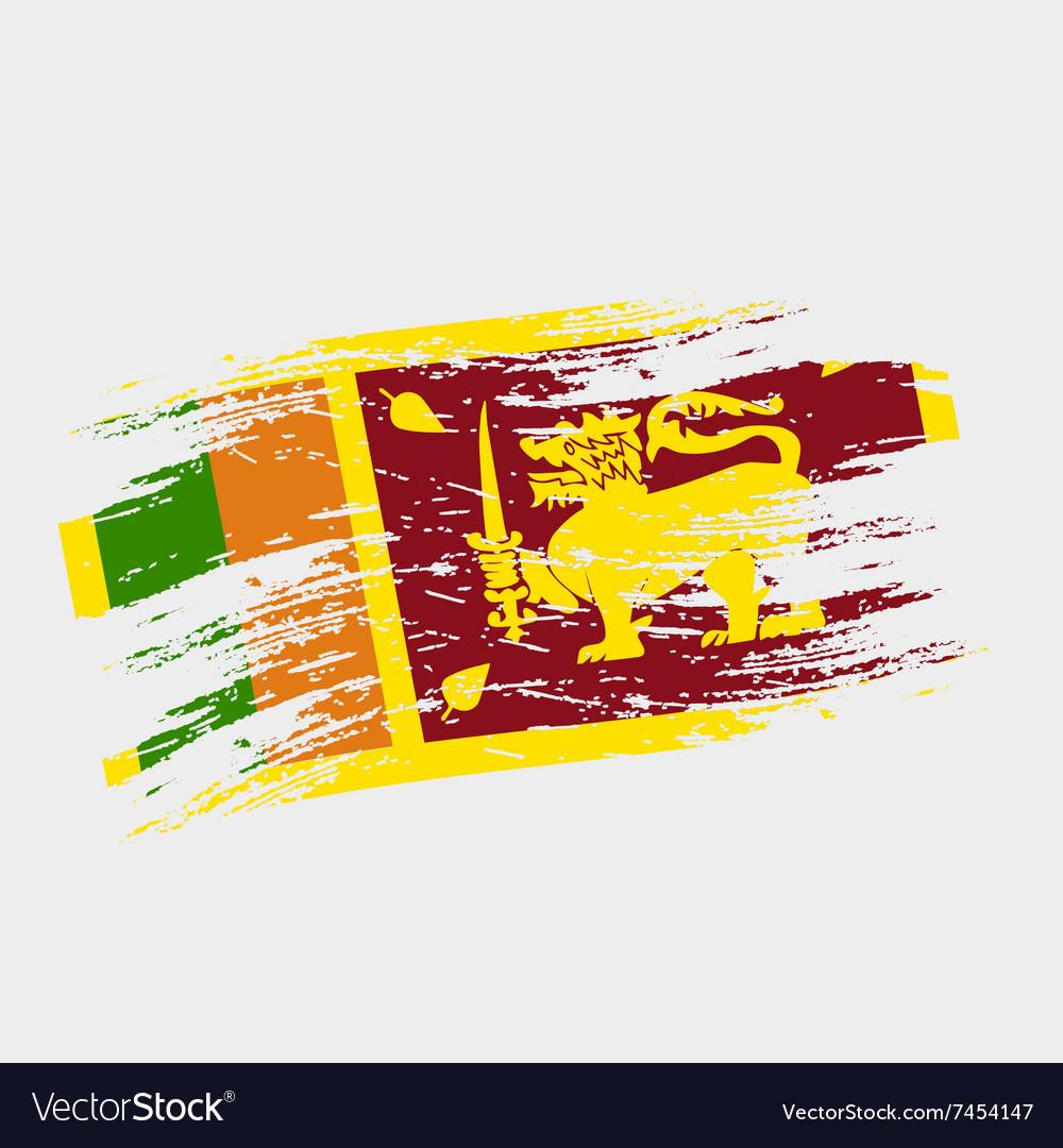 Color Sri Lanka National Flag Grunge Style Eps10
