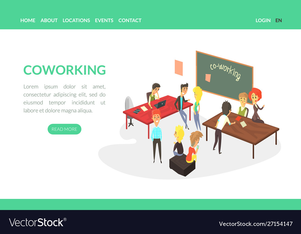 Coworking landing page template business people