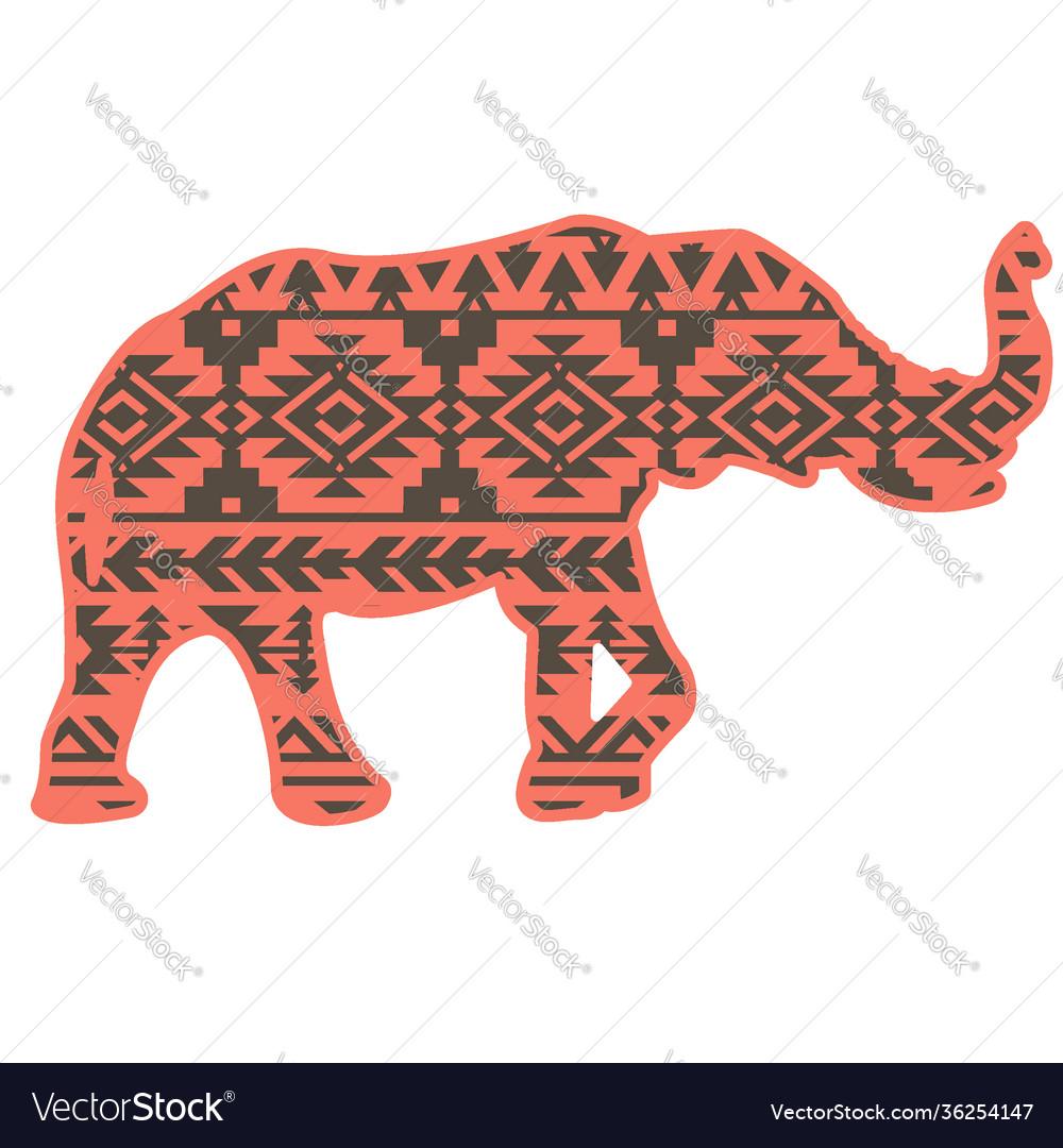 Elephant aztec silhouette color style pattern