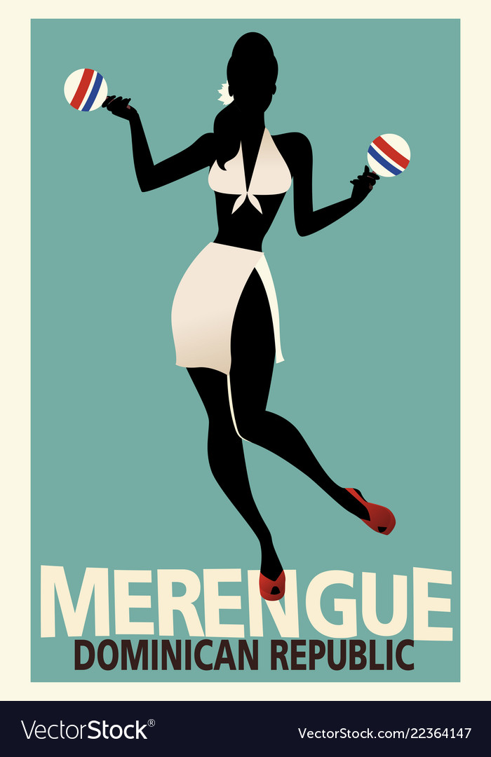 Silhouette of girl dancing merengue with maracas